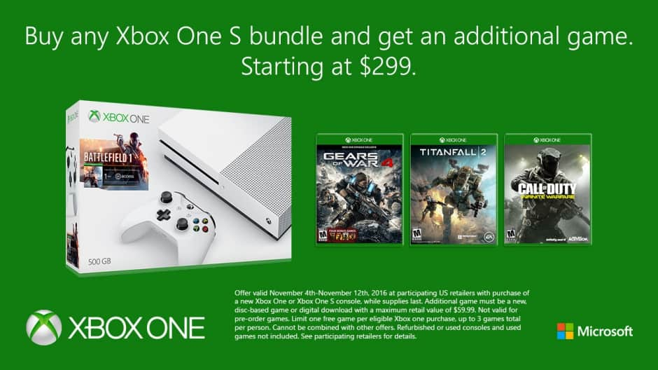 Get an additional game with the purchase of any Xbox One bundle.