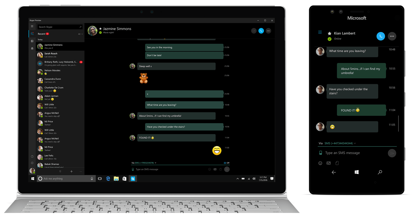 Sms Relay Arrives With Windows 10 Skype Preview 11 9