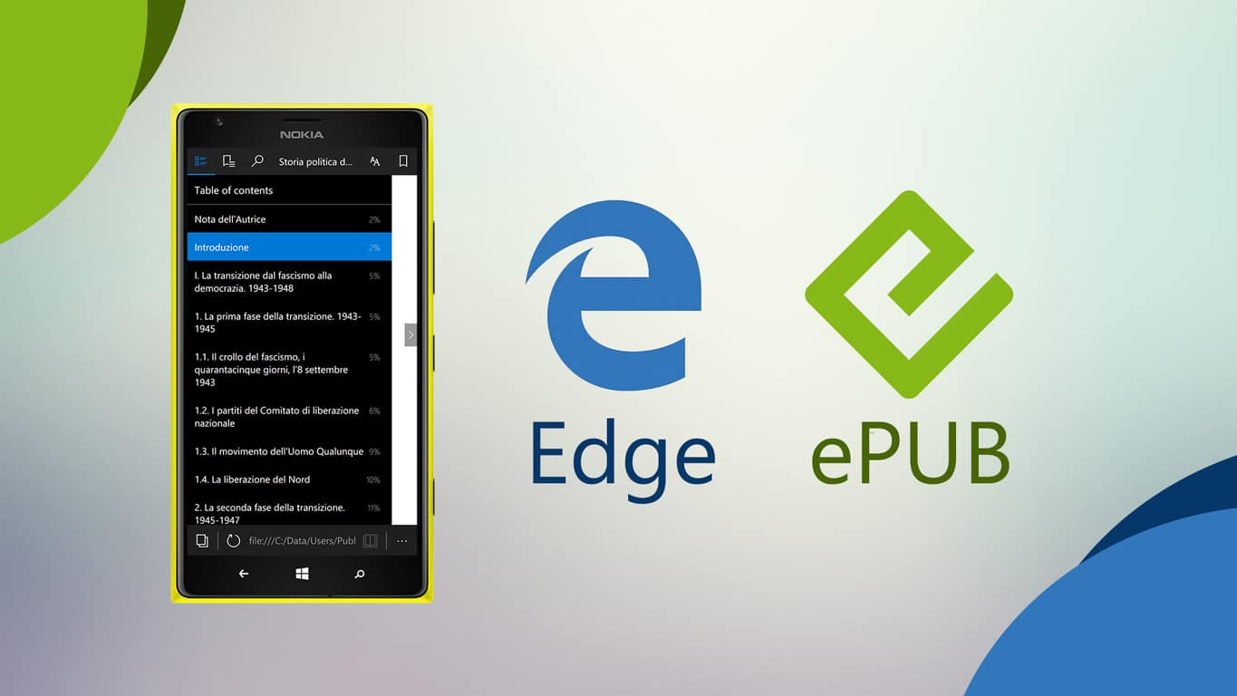 ePUB on Microsoft Edge for Windows 10 Mobile