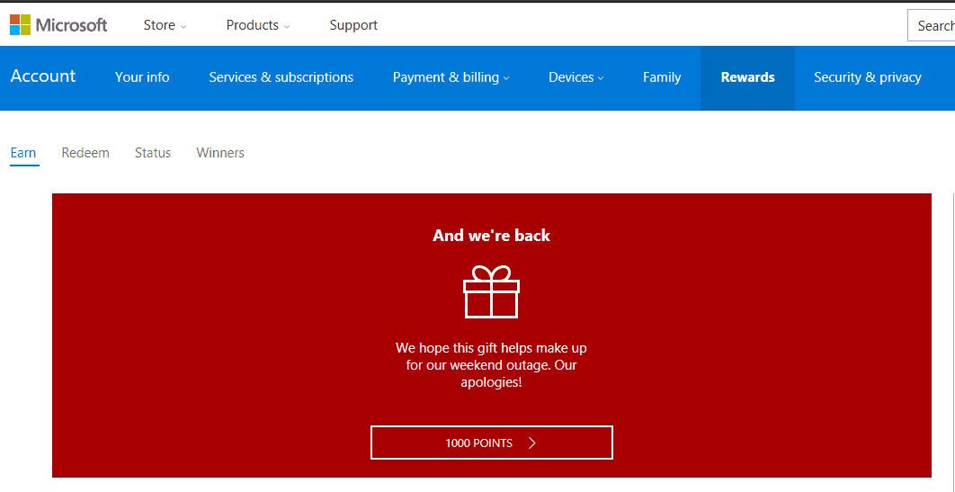 Microsoft is giving away 1,000 Rewards points for free after a weekend service outage OnMSFT.com December 22, 2016