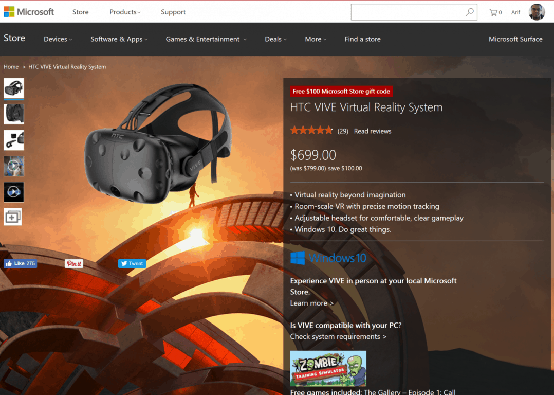 Grab the HTC Vive VR headset and a free $100 gift card at the Microsoft Store now for $699 OnMSFT.com December 27, 2016