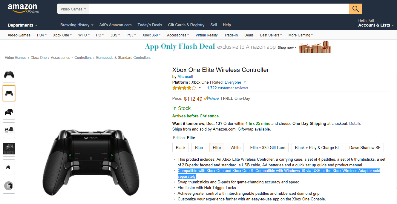 Just in time for the holidays, the xbox elite wireless controller is now only $112 on amazon - onmsft. Com - december 12, 2016