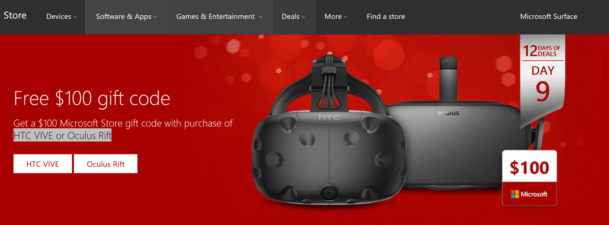 Microsoft's 12 days of deals continue, get a $100 microsoft store gift code with purchase of htc vive or oculus rift - onmsft. Com - december 13, 2016