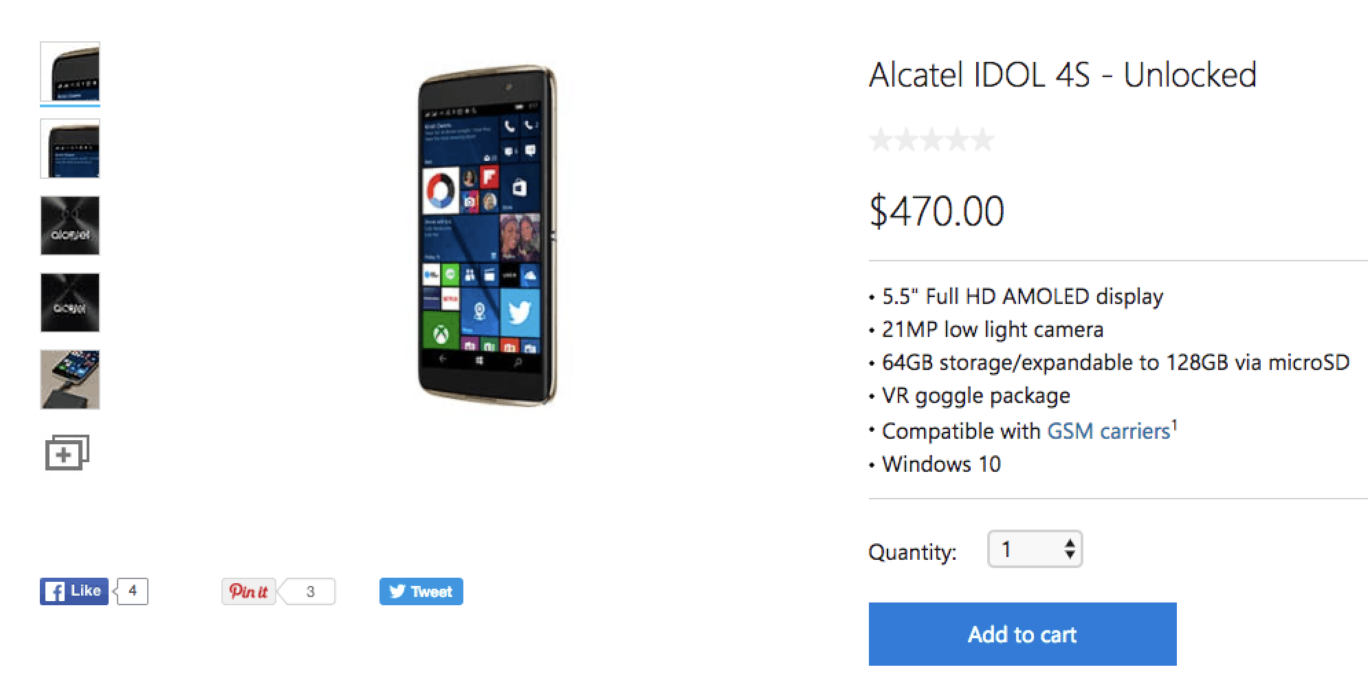 Alcatel Idol 4S US Microsoft Store