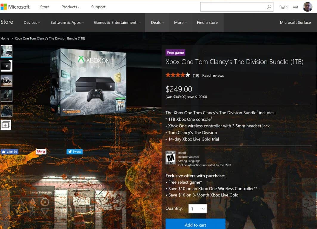 Deal: Save $100 on the 1 TB Xbox One Tom Clancy's The Division Bundle today! OnMSFT.com January 24, 2017