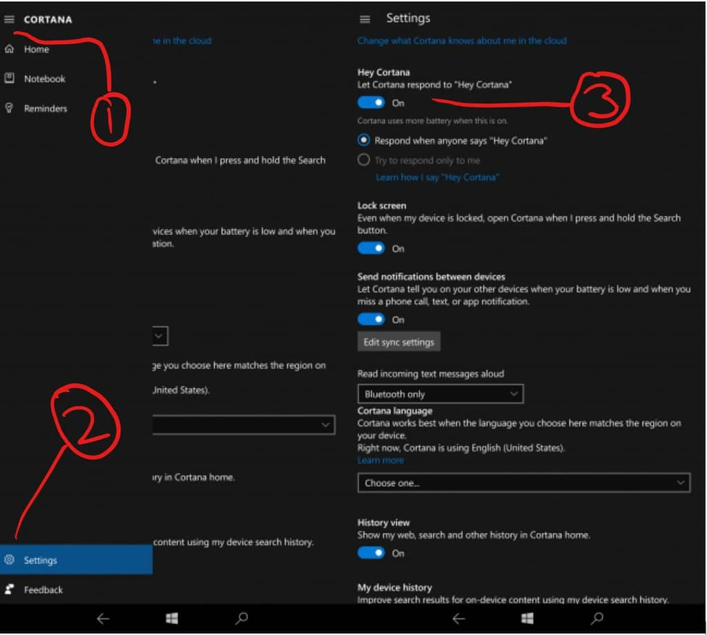 Cortana Settings