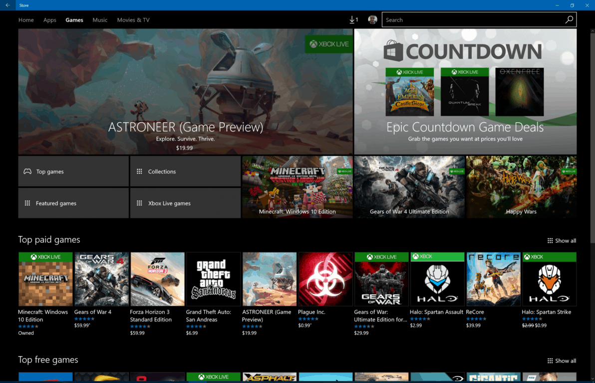 Games on the Windows Store