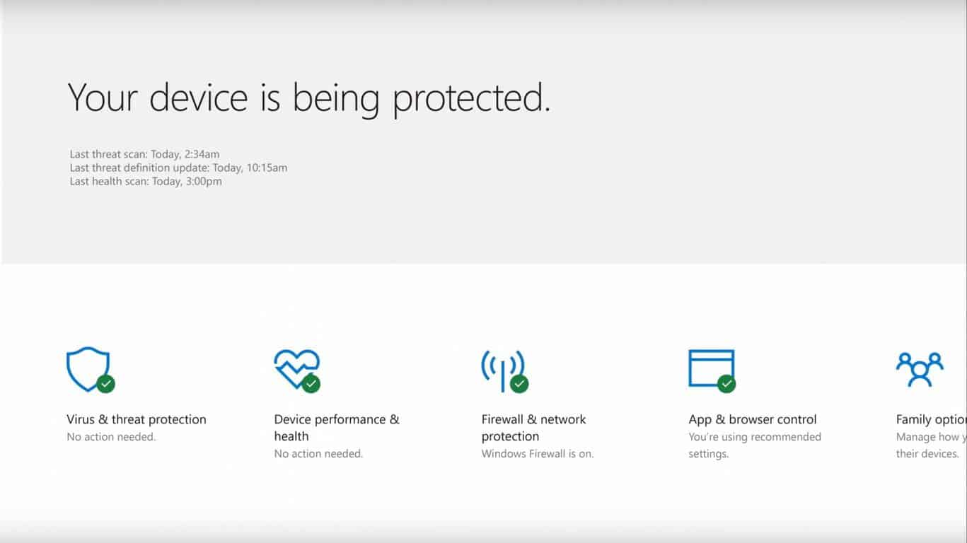 Windows 10 Windows Defender Security Center