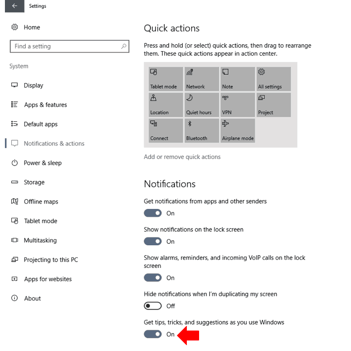 Windows 10 disable Windows tips