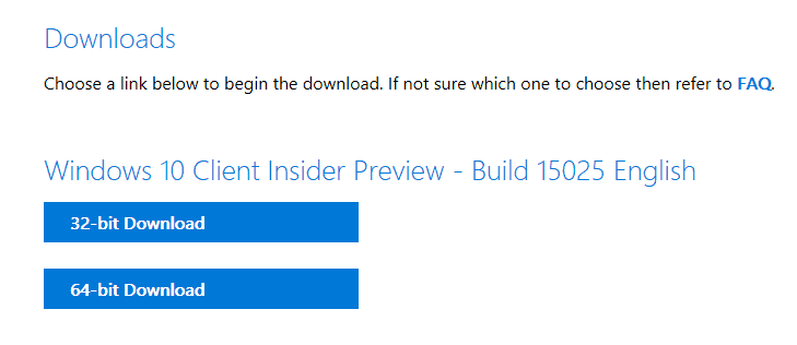 Windows 10 build 15025 ISOs