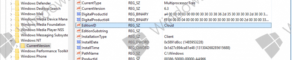 Windows Cloud registry