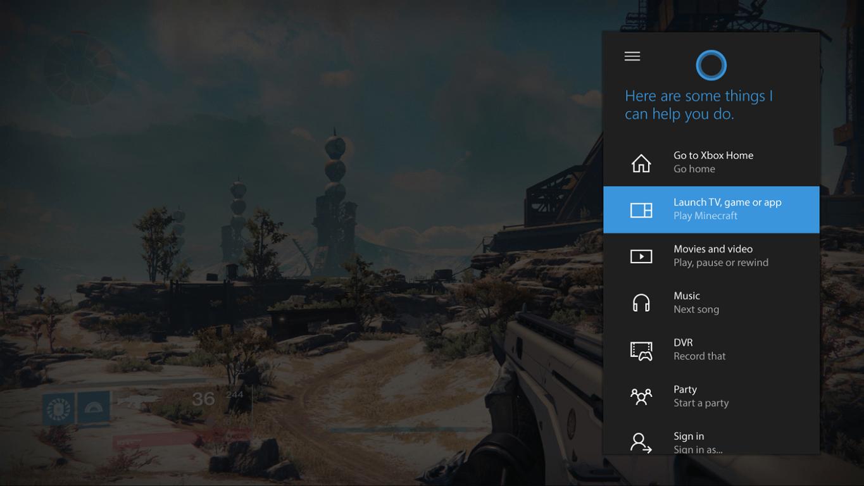 Cortana Xbox One overlay