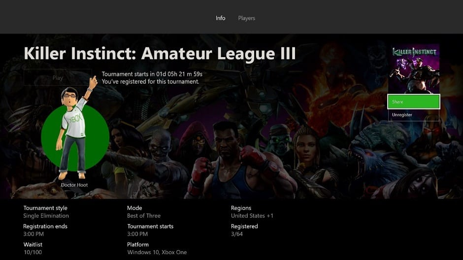 Xbox insiders to see killer instinct arena tournaments, fan requested features rolling out this month - onmsft. Com - april 17, 2017