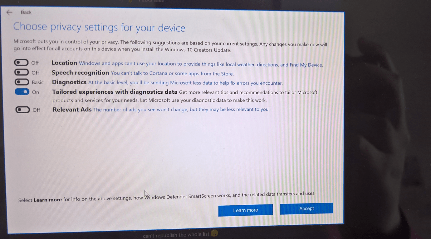 Creators Update Settings