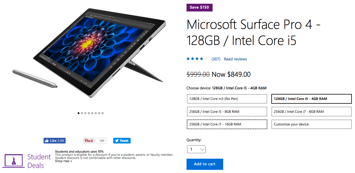 Save up to $150 on select surface pro 4 models at the us microsoft store - onmsft. Com - april 24, 2017