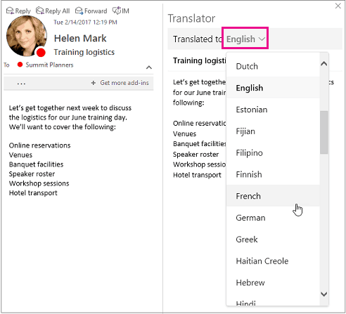 Translator for outlook add-in is now available for macos - onmsft. Com - april 4, 2017