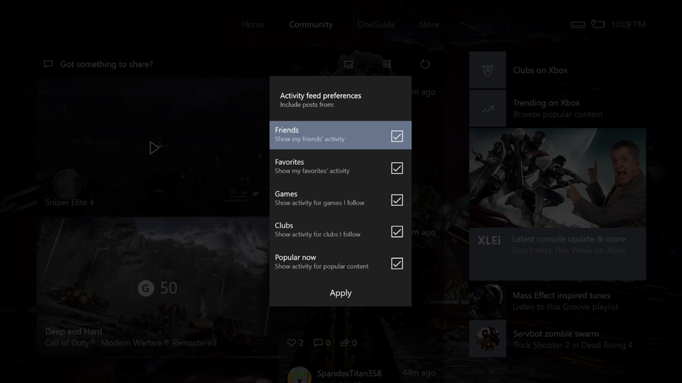 Xbox one 1704 update to include activity feed preferences to filter out content such as popular now - onmsft. Com - april 1, 2017