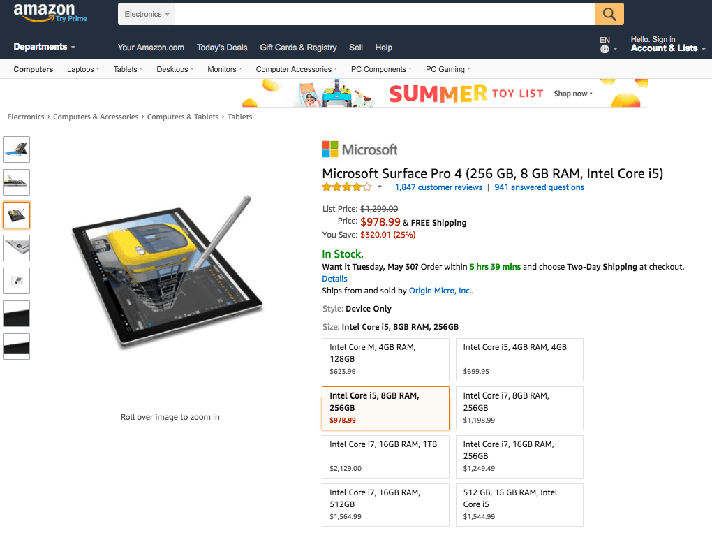 Surface pro 4 models given huge discounts on amazon - onmsft. Com - may 25, 2017