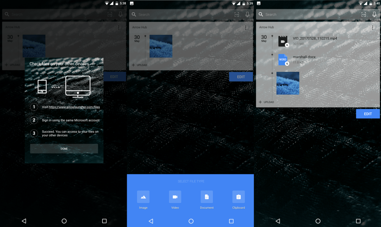 """Arrow launcher updated for some, picks up """"arrow hub"""" card, ability to sync files between android phone and computer - onmsft. Com - may 31, 2017"""