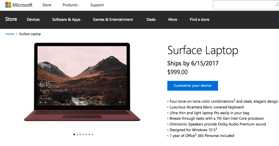 Microsoft's surface laptop is now available for pre-order in 20 countries - onmsft. Com - may 3, 2017