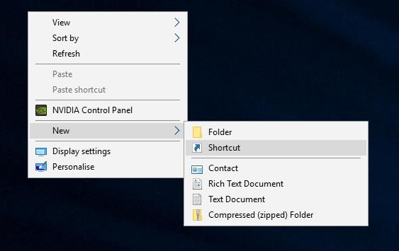 Windows 10 - Create new desktop shortcut