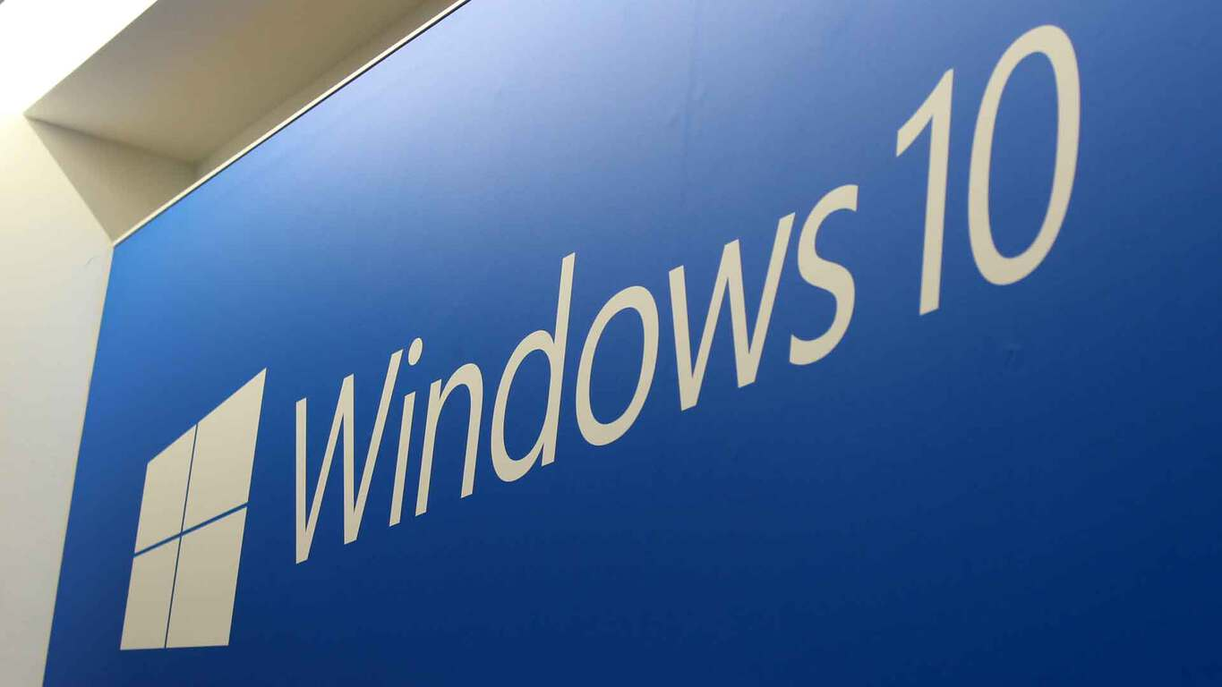 The Windows 10 logo on a blue background