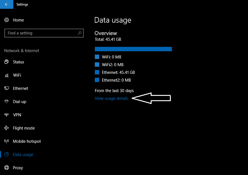 Screenshot of Windows 10 datS usage screen