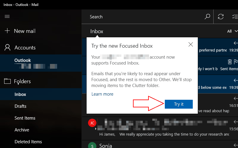 Screenshot of the Outlook Focused Inbox intro screen