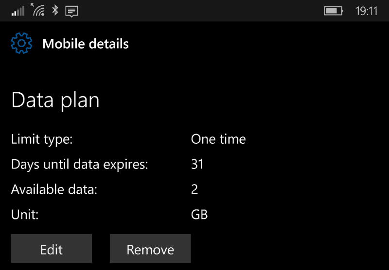 Screenshot of the Windows 10 Mobile Data plan screen