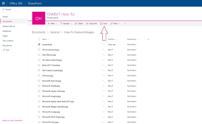 Screenshot showing the Sync button in a SharePoint document library