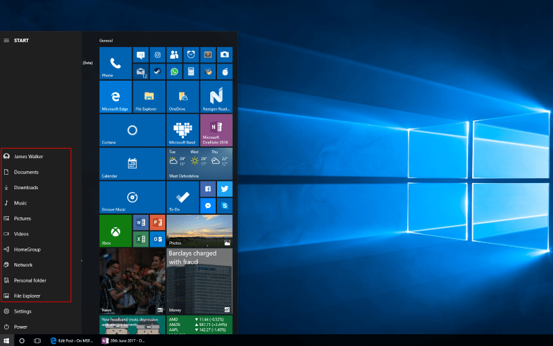 Screenshot of Windows 10's Start Menu shortcuts