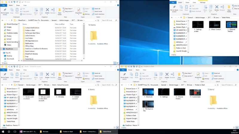 Screenshot of Windows 10 2x2 Snap layout
