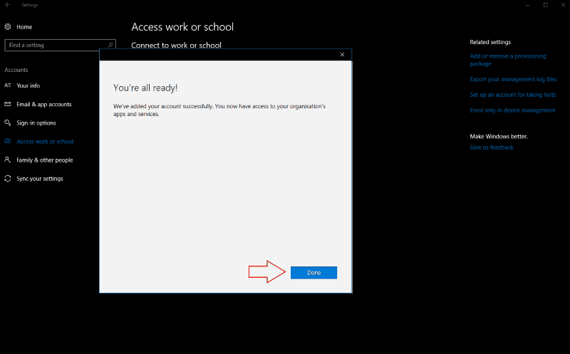 Screenshot of Windows 10 add account confirmation screen - www.office.com/setup