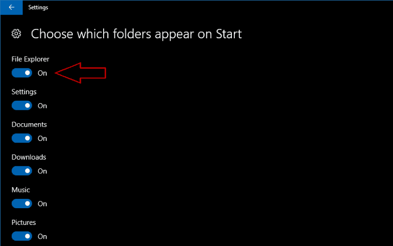 Screenshot of Windows 10 choose Start folders screen
