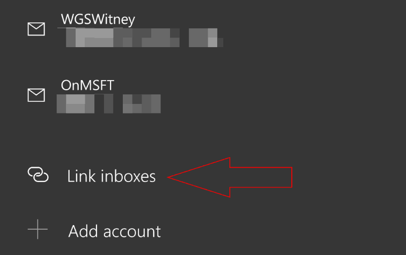 """Screenshot of """"Link inbox"""" option in Windows 10 Mail Manage Accounts screen"""