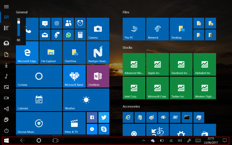 Screenshot of Windows 10 tablet interface with taskbar app icons disabled