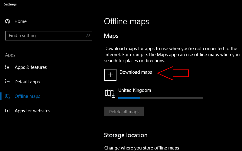 Screenshot of Windows 10 offline maps settings screen