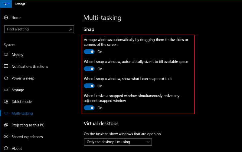 Screenshot of Windows 10 Snap settings page