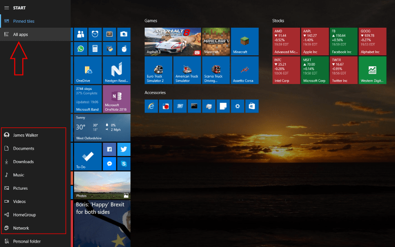 Screenshot of Windows 10 full screen Start folder links