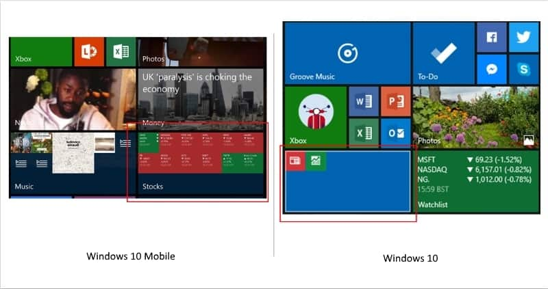Comparison of Live Folders on Windows 10 and Windows 10 Mobile