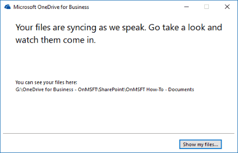 "Screenshot showing OneDrive for Business sync client ""we are syncing"" screen"
