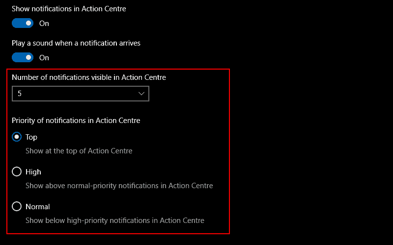 Screenshots of Windows 10's per-app notification priority settings