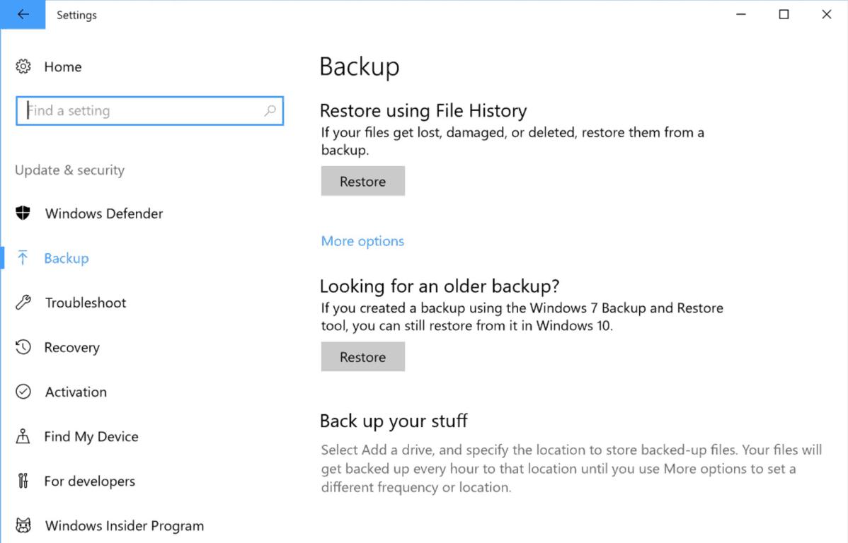 Windows 10 file history backup returns in latest insider build - onmsft. Com - june 23, 2017