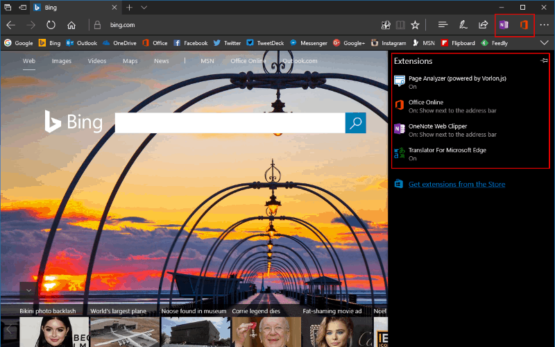 Screenshot showing the Microsoft Edge extension settings pane