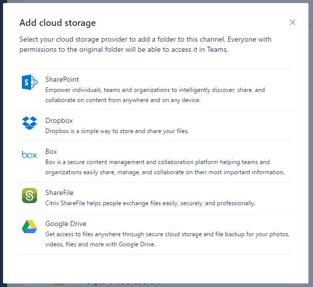 Microsoft teams adds dropbox, google drive, box drive, sharefile integrations for cloud storage - onmsft. Com - june 23, 2017