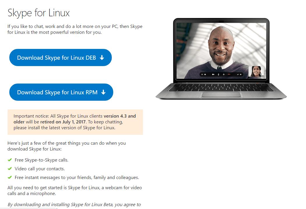 Psa: starting july 1st, older versions of the skype desktop app for linux will no longer work - onmsft. Com - june 5, 2017