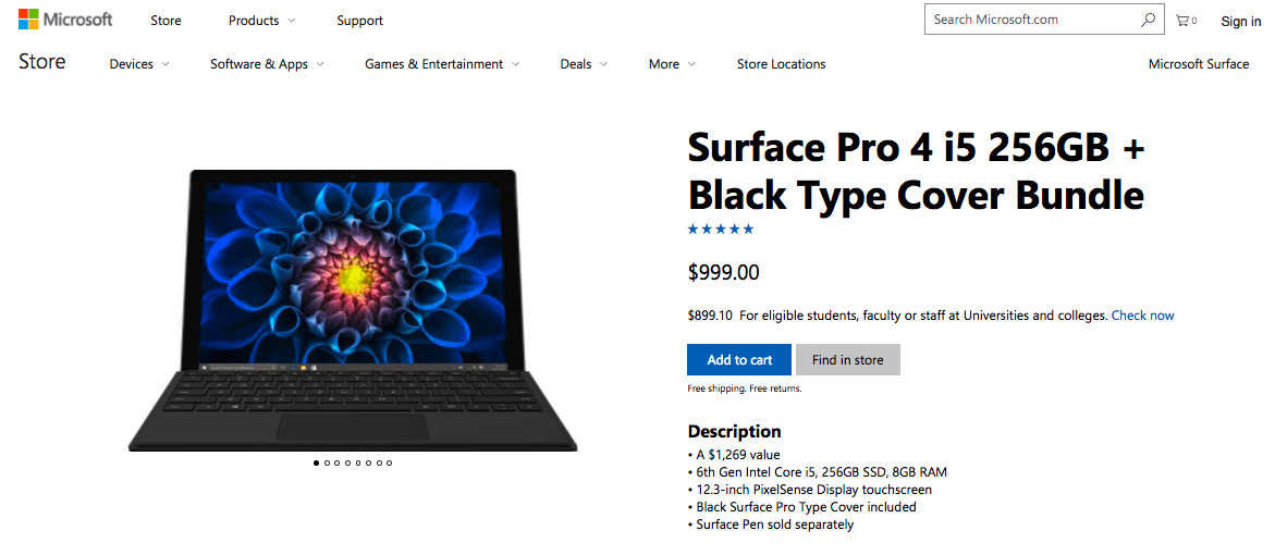 Save big on a surface pro 4 with type cover bundle - onmsft. Com - june 26, 2017