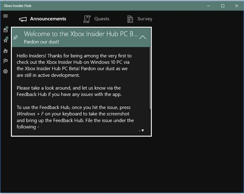 Xbox Insider App on Windows 10