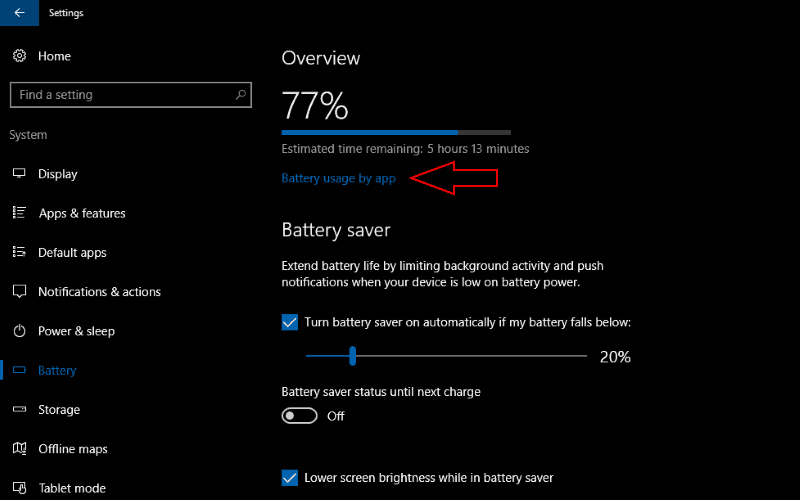 Screenshot of Windows 10 Battery settings screen