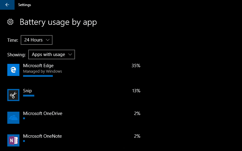Screenshot of Windows 10 battery usage by app screen